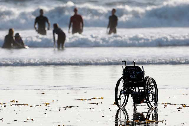 Wheelchair by the sea