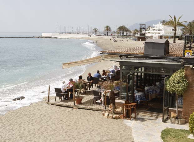 Typical beach bar in Malaga