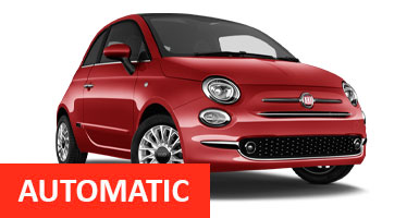 AA Fiat 500 Auto for hire at Malaga airport