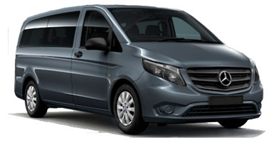 PU Mercedes Vito 9p for hire at Malaga airport
