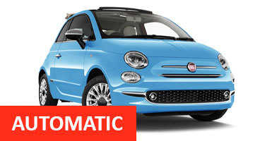 SB Fiat 500 Cabrio Auto for hire at Malaga airport