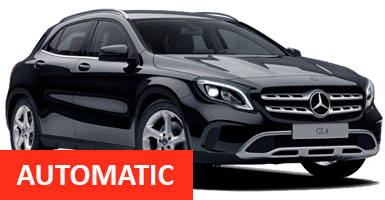 XJ Mercedes GLA Class Auto (Mercedes Guaranteed) for hire at Malaga airport