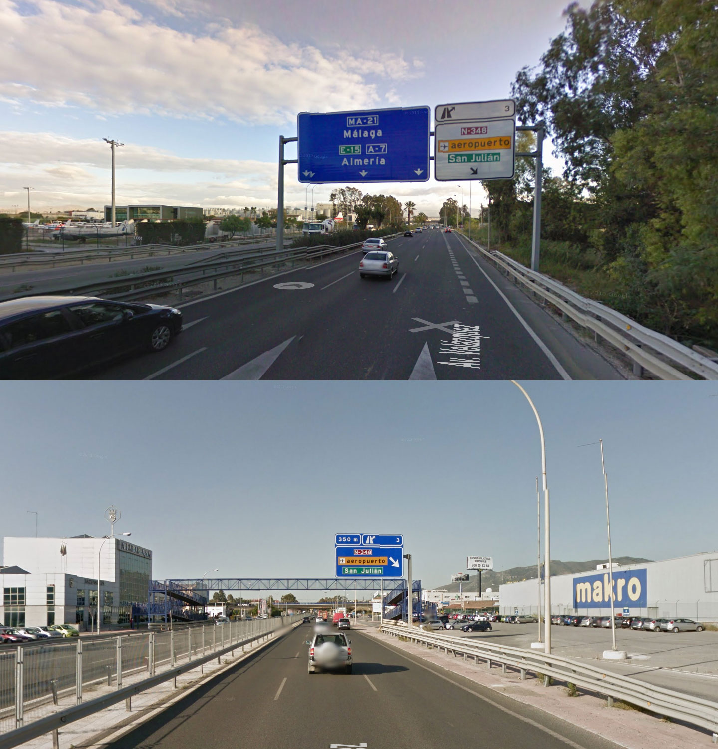 Street View Captures of the old access (EXIT NO 3 SAN JULIAN AEROPUERTO), coming from the Western Costa del Sol (picture 1) and Malaga / Eastern Costa del Sol (picture 2).