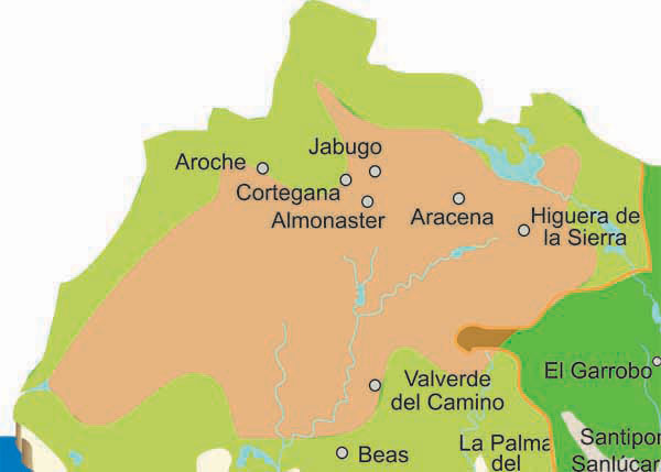 Huelva Rivers Map Rio Tinto And Other Rivers