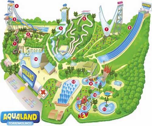 Aquatic Park in Torremolinos Aqualand Information