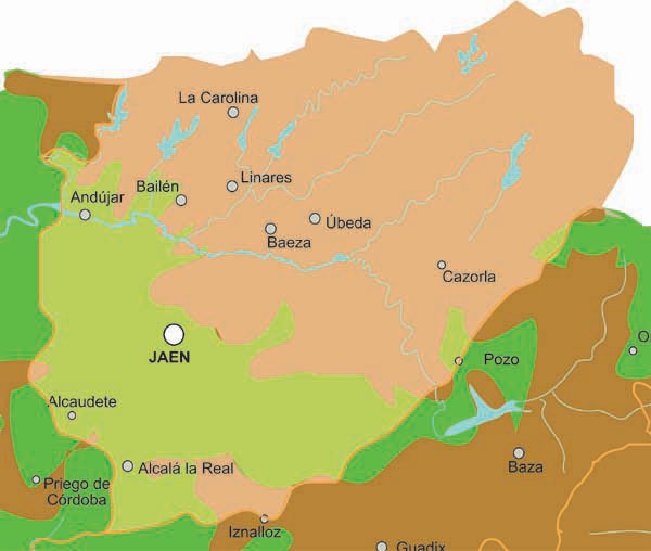 jaen rivers map