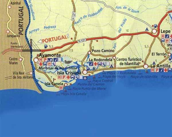 Mapa De Huelva Costa.Costa De La Luz Huelva Informacion