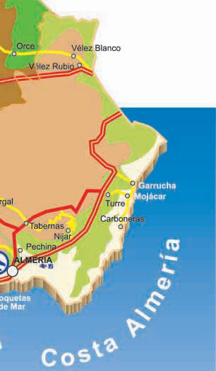 Map Of Spain Coast.Road Map Of Almeria Almeria Province In Spain