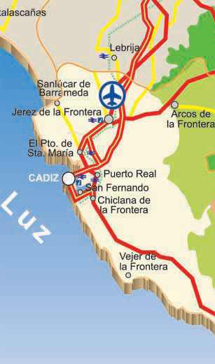 Map Of Cadiz Main Access Roads