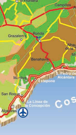 Map of Cadiz main access roads