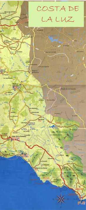 Cheap Car Lots >> Map of Costa de la Luz - Cadiz Maps