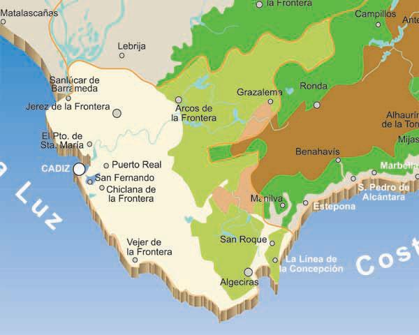 Map of Cadiz rivers, Spain