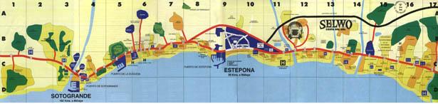 Costa del Sol map, Spain. Map of Costa del Sol