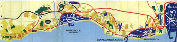Costa del Sol map Spain Map of Costa del Sol