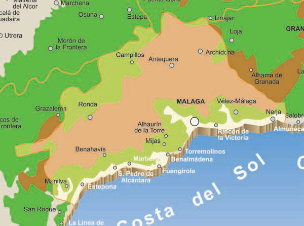 Towns map of Malaga Spain