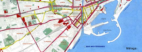 Malaga street map Malaga city center map Spain