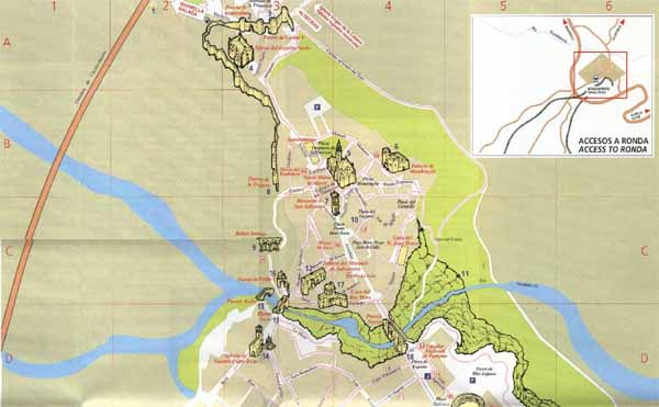Ronda street map and monuments map – Tourist Map Of Ronda Spain