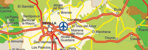 Map Of Seville Roads And Highways
