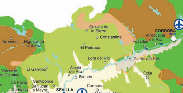 Seville rivers map