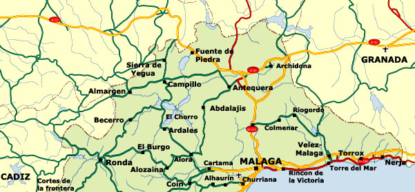Road Map Of Spain.Malaga Road Map