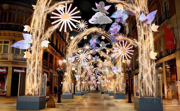 Málaga encendido luces de Navidad en la Calle Larios
